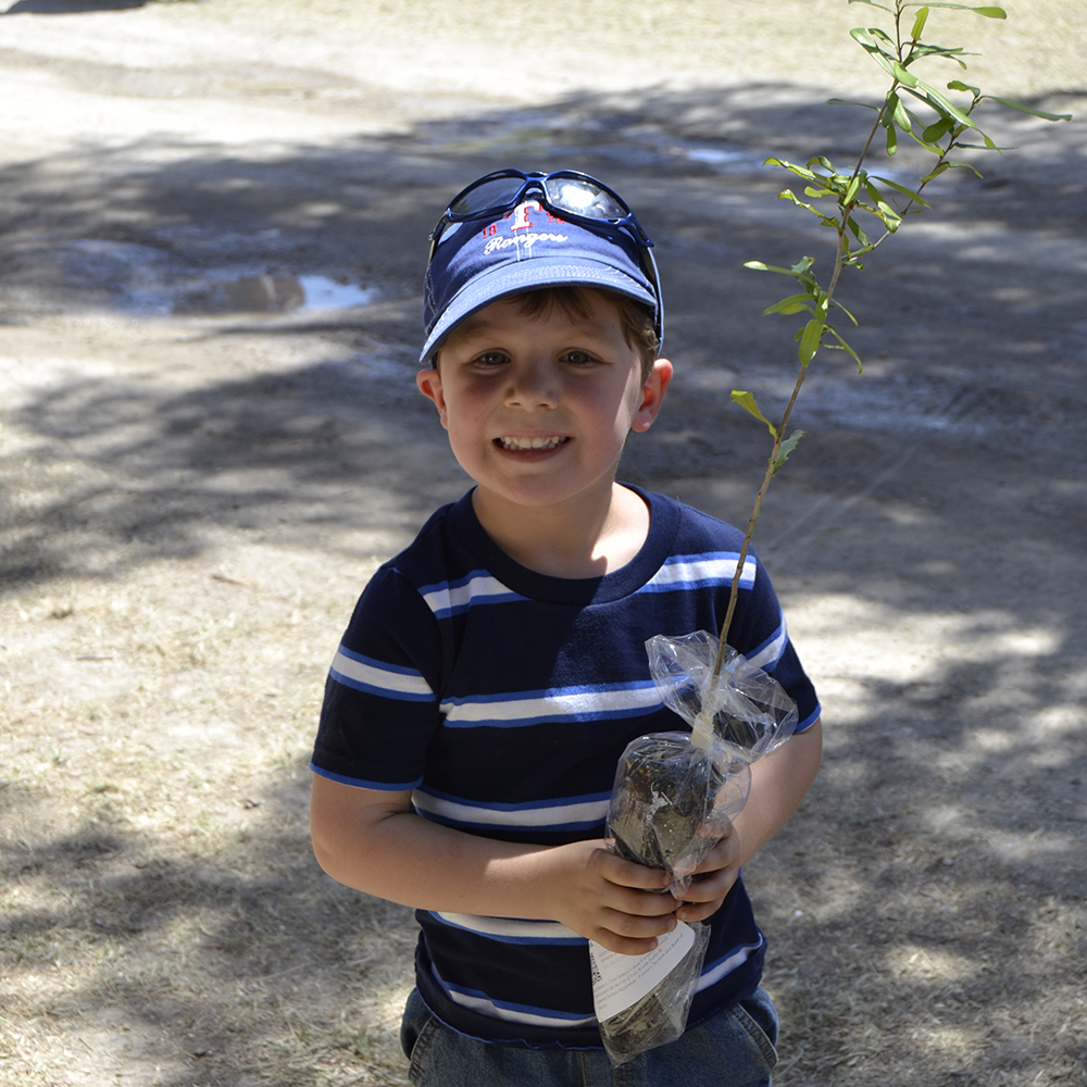 Happy tree recipient at the Mayfest Tree Give-a-way Booth sponsored by Cross Timber Urban Forestry Council - 1000